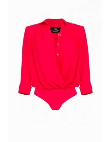 Shirt blouse body with wrap neckline - Elisabetta Franchi  CB03991E2