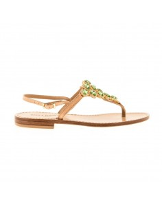 Paola Fiorenza sandalen met groene kristallen