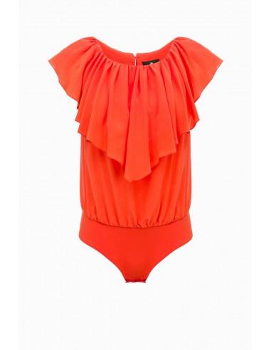 Shirt blouse body with flounce - Elisabetta Franchi - CB04491E2