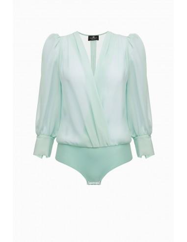 Blusa de camisa com decote em V - Elisabetta Franchi - CB04891E2