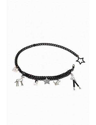 Ceinture en chaîne avec pendentifs breloques - Elisabetta Franchi - CT01A91E2