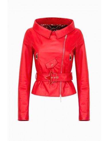 Veste en cuir avec ceinture - Elisabetta Franchi - GD04P91E2