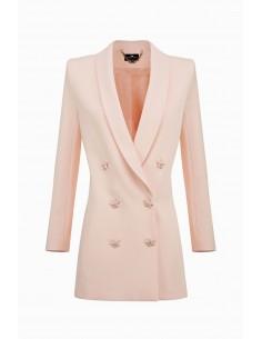 Długa kurtka z guzikami w kształcie gwiazdy - Elisabetta Franchi - GI11891E2