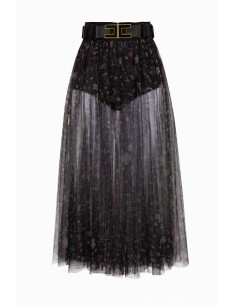 Skirt with flower print with belt - Elisabetta Franchi - GO18291E2