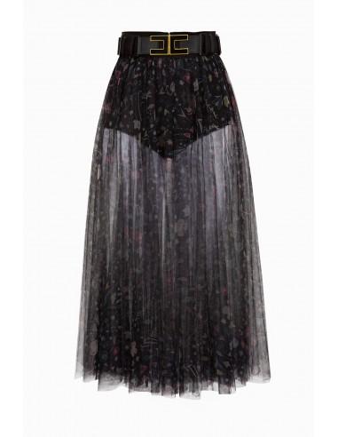 Skirt with flower print with belt - Elisabetta Franchi - GO18291E2