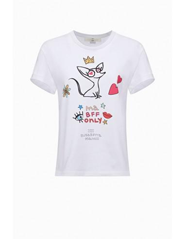 Koszulka z nadrukiem wiśniowym - Elisabetta Franchi - MA03C91E2