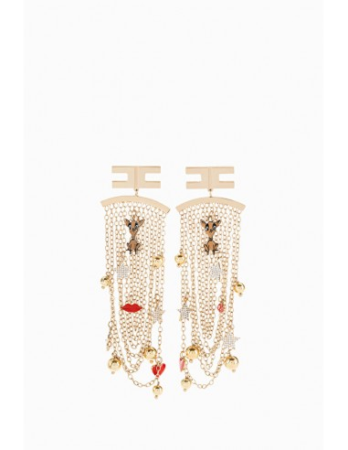 Hanging earrings with charms pendants - Elisabetta Franchi - OR36A91E2