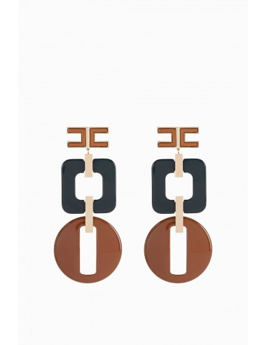Retro Hanging earrings with logo - Elisabetta Franchi - OR42A91E2