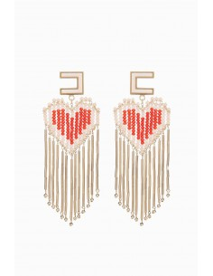 Hanging earrings with heart - Elisabetta Franchi - OR54F92E2