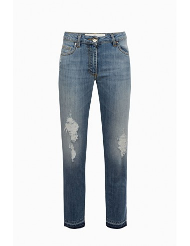 Pantalones vaqueros delgados con bordes deshilachados - Elisabetta Franchi - PJ11M91E2