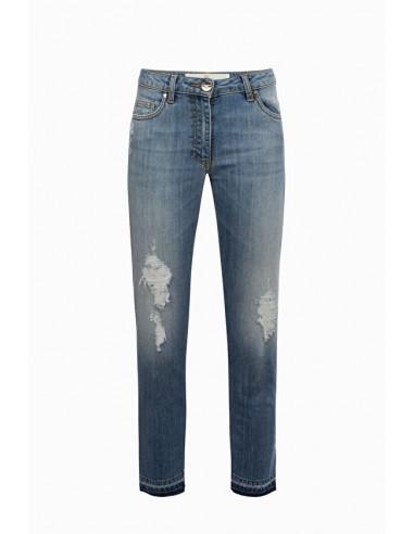 Skórzane dżinsy o postrzępionych krawędziach - Elisabetta Franchi - PJ11M91E2