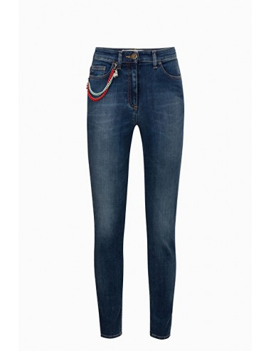 Skinny-Jeans with Chains - Elisabetta Franchi - PJ22I91E2