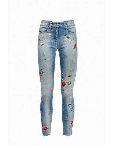 Jeans com motivos estampados - Elisabetta Franchi - PJ23I91E2