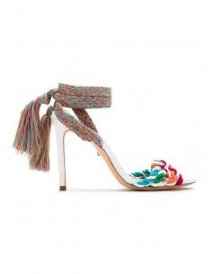 Schutz sandalen met hak, snaren en knopen | altamoda.shop - S2053200360001