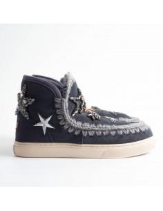 MOU Eskimo Sneaker écussons et étoiles de cristal en bleu nuit - eskisneptc_nblu