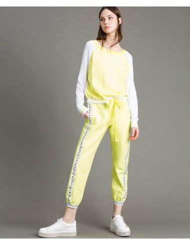 """""""Twinset"""" - sweter z nadrukiem z efektem koronkowym Kup online - 191LL36BB"""