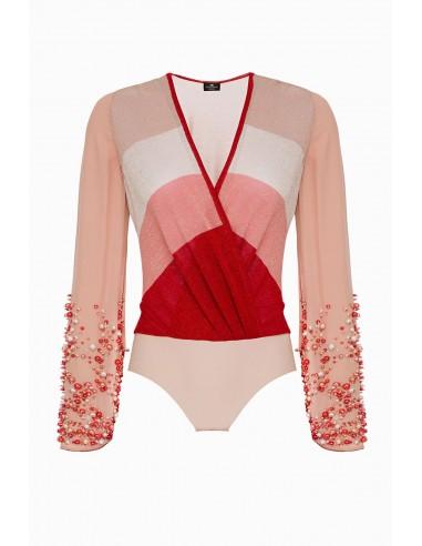 Elisabetta Franchi Knit bodysuit with beads | Buy Online - BK28L92E2