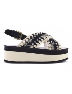 Mou Sandals Criss Cross in Black and Beige