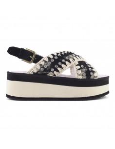 Mou Sandały Criss Cross w kolorze czarnym i beżowym