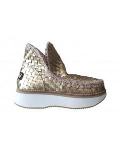 Mou Buty oplatane złotem w buty o niskim kroju