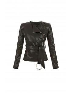Chaqueta de imitación piel con cinturón - Elisabetta Franchi - gi01576e2_110