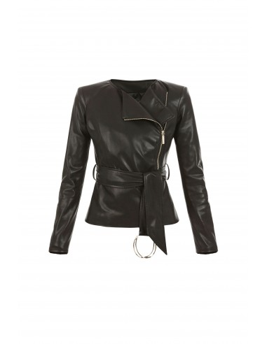 Imitation leather jacket with belt - Elisabetta Franchi - gi01576e2_110