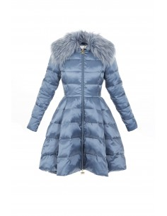 Down down jacket in plate cut with faux fur - Elisabetta Franchi - pi03z76e2_m44