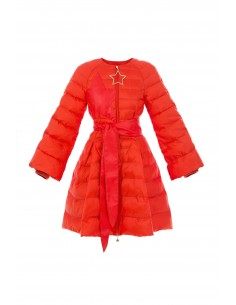 Circle quilted coat with belt in red - Elisabetta Franchi - 14z76e2_h85
