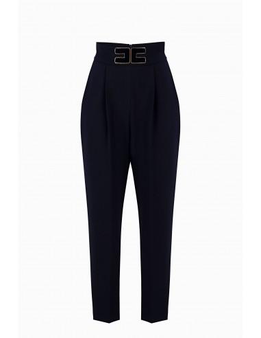 Elisabetta Franchi cigarette pants with brand logo Buy online - PA30596E2