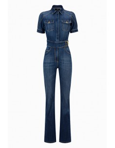 Elisabetta Franchi Jumpsuit made of denim with belt Buy online - TJ07S96E2