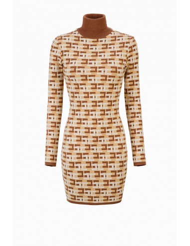 Elisabetta Franchi Mini Knitted Dress with Logo Print Buy Online - AM44B96E2