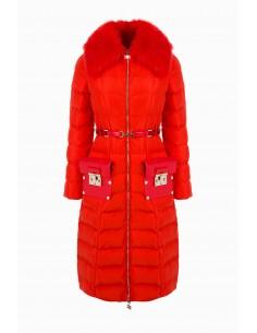 Elisabetta Franchi casaco acolchoado comprido com cinto - compre online - PI10Z96E2