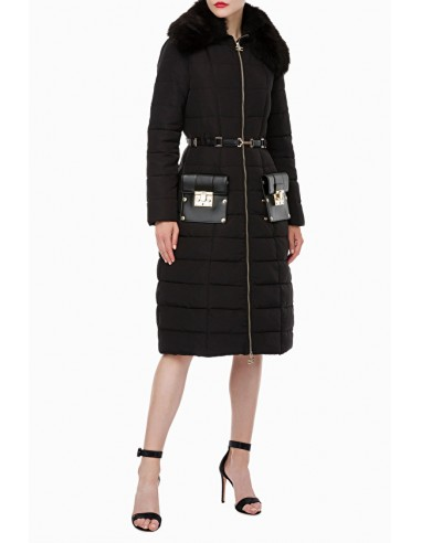 Long quilted coat with belt