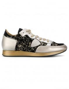 Philippe modelo de sapatilha de ouro com glitter