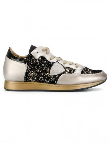 Chaussure de sport Philippe modèle or avec paillettes