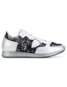 Chaussure de tennis Philippe modèle argent avec paillettes