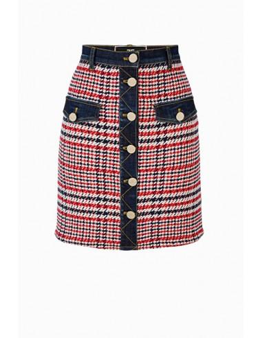 Elisabetta Franchi Denim Button Mini Skirt - shop online - GJ09D96E2