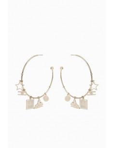 Boucles d'oreilles circulaires Elisabetta Franchi avec breloques - Boutique en ligne - OR10A97E2