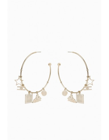 Elisabetta Franchi Circular earrings with charms - shop online - OR10A97E2