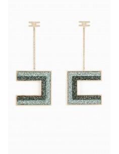 Boucles d'oreilles avec pendentif logo Elisabetta Franchi - Boutique en ligne - OR89A97E2