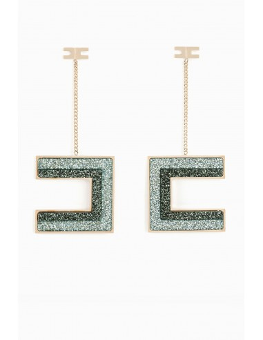 Elisabetta Franchi Logo pendant earrings - shop online - OR89A97E2