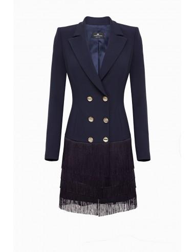 Elisabetta Franchi coat dress with fringes - altamoda.shop - AB00397E2