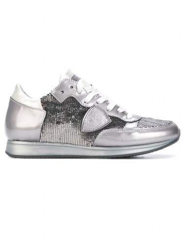 Philippe Modelo zapatillas de plata con plaquetas