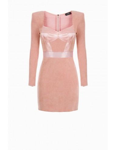 Vestido de punto y satén Elisabetta Franchi - altamoda.shop - AM66L97E2