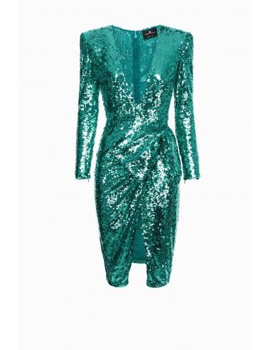 Elisabetta Franchi Embroidered dress with maxi bow - altamoda.shop