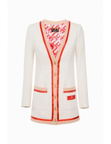 Elisabetta Franchi Długa wełniana kurtka - altamoda.shop - GI16297E2