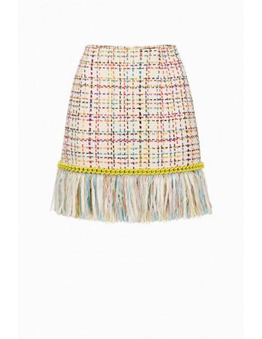 Elisabetta Franchi mini skirt with fringes - altamoda.shop - GO34498E2