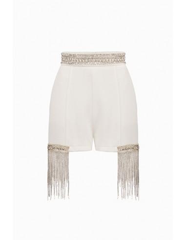 Elisabetta Franchi Shorts with Rhinestones - altamoda.shop - SH04098E2