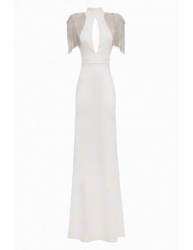 Elisabetta Franchi Langes Kleid mit bestickten Schulterpolstern Online kaufen - altamoda.shop - AB13398E2