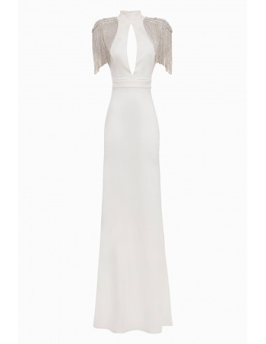 Buy Elisabetta Franchi long dress with embroidered shoulder pads online - altamoda.shop - AB13398E2